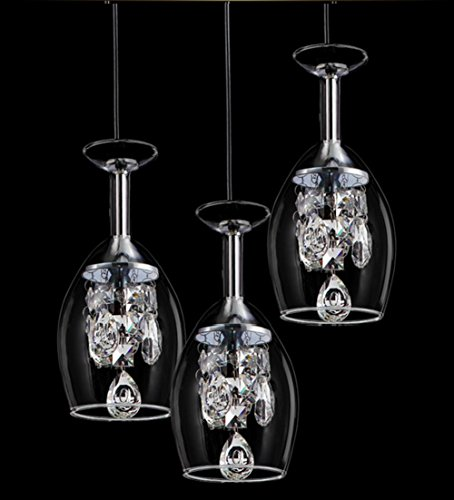 WSND 3 kreative Kristall Weingläser LED Anhänger Licht Glas Kronleuchter pastorale-Café Bar Wohnzimmer Pendelleuchte, 220v (Licht Schatten Anhänger Kristall)