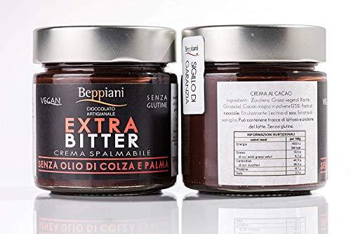 Crema spalmabile al cioccolato artigianale fondente extra bitter - set 2 barattoli da 250 gr, senza glutine e vegan. beppiani - cioccolato artigianale