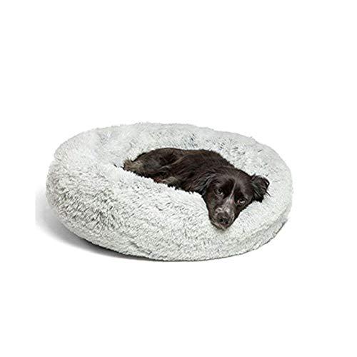 Lrhps Deluxe-Haustierbett,Hundebett mit kuscheligem Plüsch,Donut Cuddler Haustierbett,Mittelgroße und Große Hunde atmungsaktiv,Grau,60 * 60cm