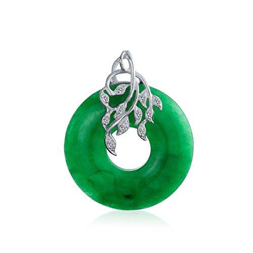 Open Circle Disc Gefärbt Grün Jade Blatt Anhänger Mit Halskette Für Damen Für Jugendlich Sterling Silber Kette ()