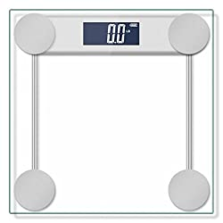 Hippih Hippih 400lb / 180kg Electronic Bathroom Scale with Tempered Right Angle Glass Balance Platform and Advanced Step-On Technology Digital Weight Scale has Large Easy Read Backlit LCD Display D-017-2