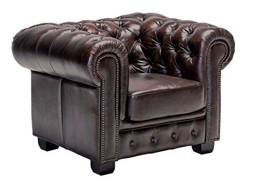 Woodkings Chesterfield Sessel braun vintage Echtleder Bürosessel Polstermöbel antik Designsessel...