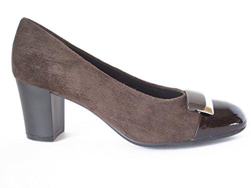 Decollete elegante Cinzia Soft in pelle camoscio e vernice, con tacco 6cm., linea comfort