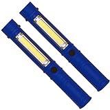 trendaffe 2er Set COB-LED Taschenlampen in blau mit Magnet - Chip on Board LED