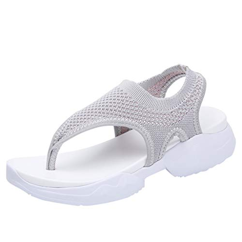 BASACA Sandalen Damen Frauen Mädchen Atmungsaktiv Komfort Aushöhlen Lässige Sommer Schuhe Frau Keil Mode 2019 (38 EU, T-Grau) -