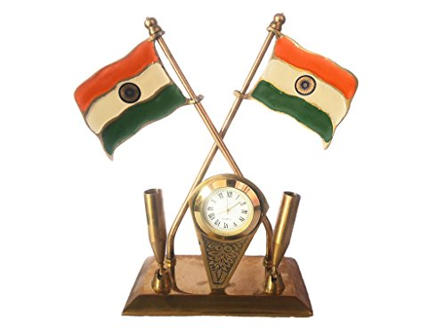 THE DIGITAL STORE Antique Indian Flag Pen Holder With Clock Unique Traditional Brass Handmade Decorative Gift Item Home / Table / Wall Decor Showpiece / Figurine  available at amazon for Rs.425