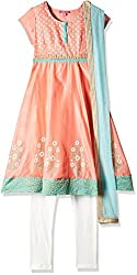 Biba Girls Salwar Suit (KW1807_Coral Red and Turquoise_3)