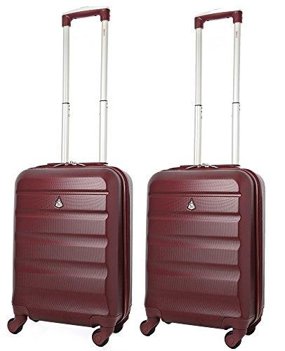 Aerolite ABS Bagage Cabine à Main Valise Rigide Léger 4 Roulettes (Set de 2, Vin Rouge)
