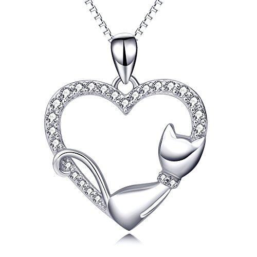 Katze Halskette Sterling Silber Katze Herz Anhänger Kette Geschenke für Damen Frau Freundin Tochter Mädchen -