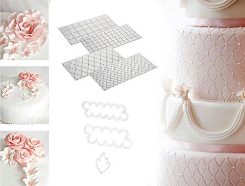 iZoeL 4pcs Motifs Briques, Bois et Pavé pour Chocolats et Glaçages + 3pcs Sugarcraft Emporte-Pieces Rose