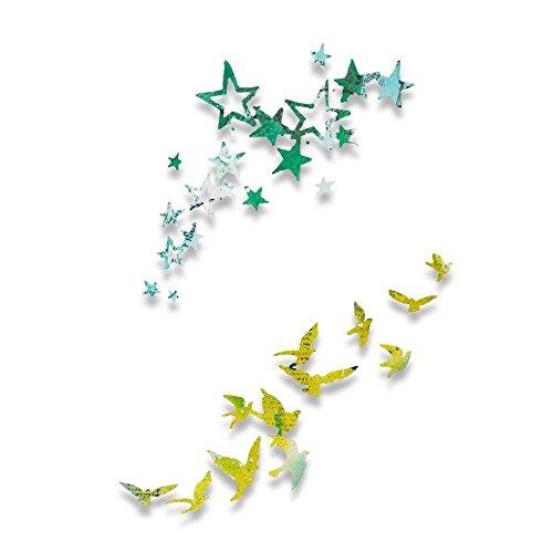 Sizzix Thinlits Stanzschablonen Set-Vögel und Sterne von Pete Hughes, Andere, Silber, 26 x 13 x 0.2 cm
