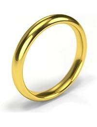 Precious Direct-anillo de matrimonio de oro amarillo de 18 quilates, 3 mm,