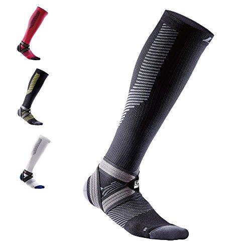 LP Support 204 Z EmbioZ Kompressions-Socken, [1 Paar] Unisex Kompressionsstrümpfe für Herren und Damen, für Reisen, Flug, SPOR,t Laufen, Jogging, Sportstrümpfe, Laufsocken, Größe:L, Farbe:schwarz