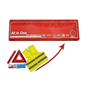 Verbandkasten mit Warneste Warndreieck und DIN 13164:2014 Verbandsmaterial/Verbandstofffüllung Auto Kombitasche als Erste-Hilfe-Set in ROT