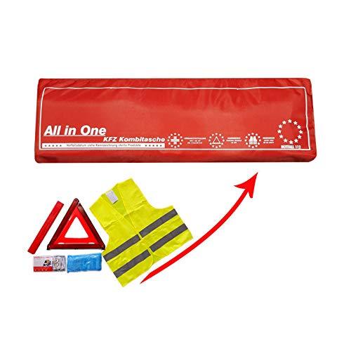 Verbandkasten mit Warneste Warndreieck und DIN 13164:2014 Verbandsmaterial/Verbandstofffüllung Auto Kombitasche als Erste-Hilfe-Set in ROT -