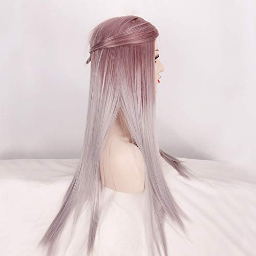 Trend jewelryfashion highlight two tone natural grey ombre heat resistant synthetic wigs for women shades of long straight hair wig:Grey