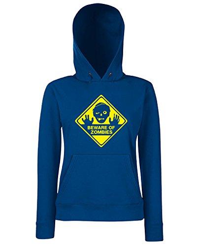 T-Shirtshock - Sweats a capuche Femme TZOM0023 beware of zombies Bleu Navy