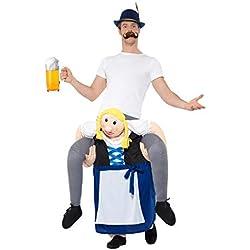 Smiffy's Smiffys-47045 moza de Cerveza bávara Piggyback, Disfraz de una Pieza con Pierna, Color Azul, Tamaño único 47045