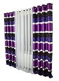 FK-Lampem Blickdicht Ösenvorhang Ösenschal Schal Dekoschal für Fenster Dekorative Gardine viele Farben Streifen 2er Set Vorhänge mit Ösen 145x250 cm GP2 (P6)