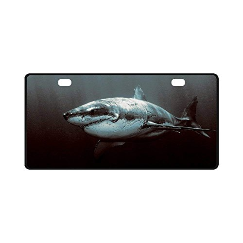 BNHF Great White Shark Pattern Metal License Plate Auto Car Tag 11.8