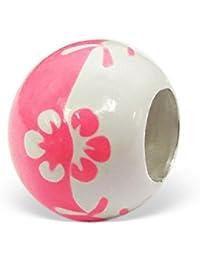 So Chic Joyas - Abalorio Charm Flor - Compatible con Pandora, Trollbeads, Chamilia, Biagi - Plata 925