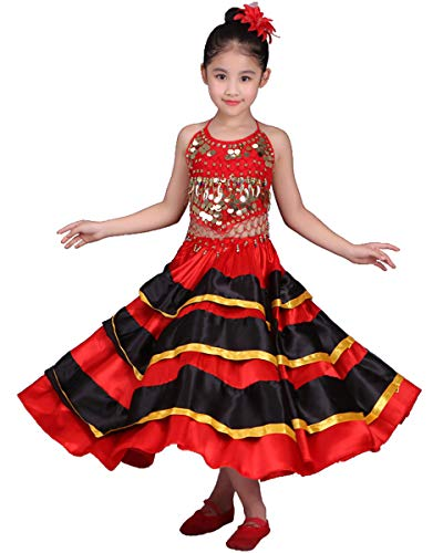 Kinder Kostüm Tanz Western - Spanisch rot Phantasie mädchen Kinder Flamenco tanzkleid kostüm midi schaukel mexikanisch Spanien Kinder Frauen top Rock tänzerin Outfit (Rot & Schwarz, 130-150 cm)