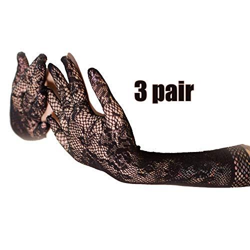 3 paar Floral Bogen Spitze Kurze Handschuhe Frauen Braut Hochzeit Handschuhe Party Phantasie Kostüme Arbeitshandschuhe (Color : Black)