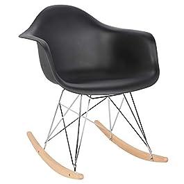 Elightry Fauteuil à Bascule siège en Plastique Chaise à Bascule Pieds en Acier Bois,Noir