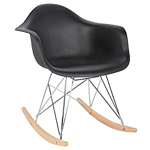 Elightry Schaukelstuhl Relaxstuhl Sessel Schaukelsessel Schwingsessel Kunststoff Stahl Holz Weiß