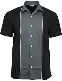 Relco hommes Gris Charbon & noir bowling chemise