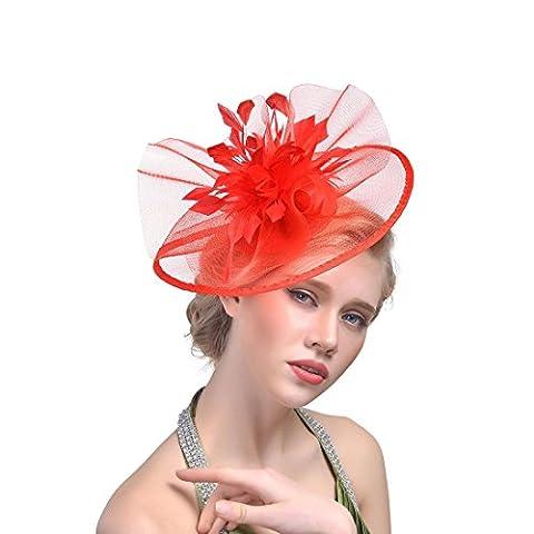 DUUMY Femmes 2017 New mode Feather net Harnais Banquet Chapeau Chevaux Chapeaux Danse Bride Gauze Handmade Headdress Bijoux de Mariage , red