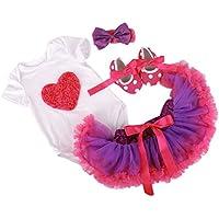 DAYAN 4PCS neonate Body skirt + tutu +scarpa + Copricapo vestito dal tutu maniche corte che coprono l'insieme del battesimo cerimonia nuziale del bambino