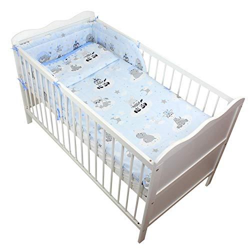 TupTam Baby Bettwäsche mit Nestchen Bettset Gemustert 3-TLG, Farbe: Baby Tiere Grau/Blau, Anzahl der Teile:: 3 TLG. Set