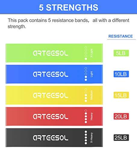 Arteesol-Resistance-Bands-Set-of-5-Exercise-Loop-Bands-for-Women-and-Men-Natural-Latex-Fitness-Bands-for-Legs-and-Glutes-Yoga-Crossfit-Rehab-Pilates-Gym-Home