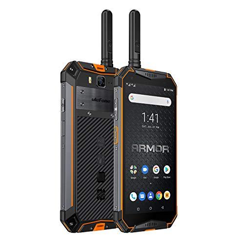 Ulefone Armor 3WT (2019) Outdoor Smartpone mit Walkie Talkie, Helio P70 6GB RAM + 64GB ROM, 10300 mAh Akku, 5,7 Zoll, 21MP+8MP Kamera, Dual SIM Global LTE Handy IP69K, Android 9.0 - Orange