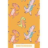 Sketchbook: Small Portable Blank Sketchbook for Drawing, Sketching, and Doodling with Dancing Dinosaur Pattern Cover Design