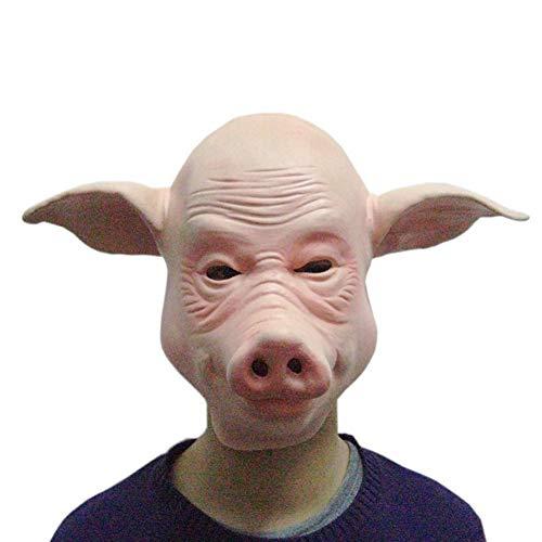 Pig Mann Zombie Kostüm - YIZHEN Halloween Mask Bald Pig Mask Tierkopfbedeckung Latex Maske Geeignet für Party Party Game Cosplay