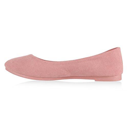 Damen Ballerinas Schuhe Halbschuh flache Schuhe Slipper Rosa Lochung