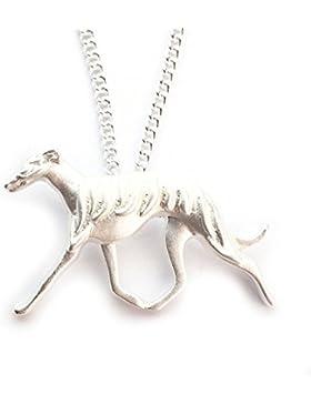 Miss–E–Jewels Versilbert Windhund Hund Anhänger Halskette 45,7cm in Satin Tasche