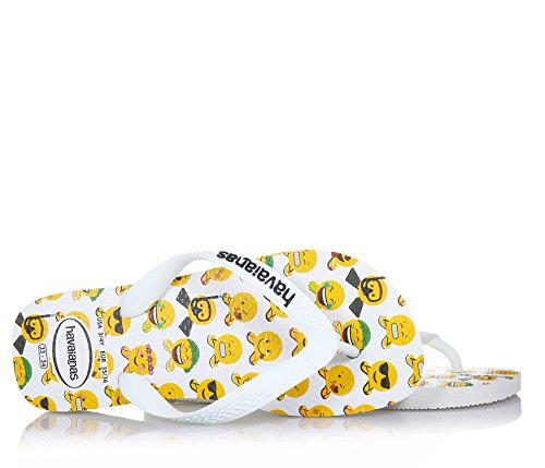 Havaianas Men's Mood Flip Flops Emoji Print Footbed Beach/Pool Thong Sandals blanches imprimées Émojis Mood