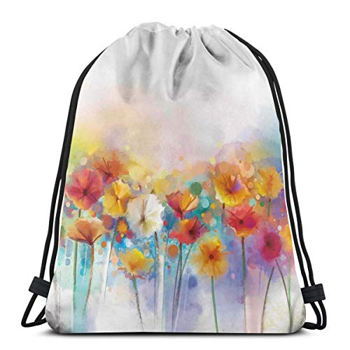 Jiger Drawstring Tote Bag Gym Bags Storage Backpack, Gerbera Bouquet Textured Artisan Inflorescence Morph New Paint,Very Strong Premium Quality Gym Bag for Adults & Children -