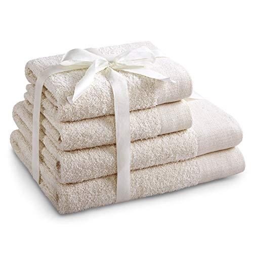 AmeliaHome 4er Set 2 Handtücher 50x100 cm und 2 Badetücher 70x140 cm 100% Baumwolle Qualität Saugfähig Ecru Creme Amari