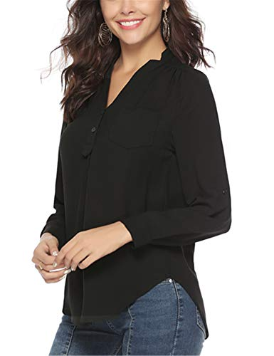 Abollria Damen Chiffon Bluse V Ausschnitt Elegant Tunika Festliches Langarm Shirt mit Brusttasche