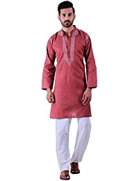 BDS Chikan Cotton Maroon Kurta for men's Lucknowi Chikan Work - BDS00899