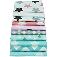 10toiles en coton 40cmx50cm avec motifs d'étoile, de zig zag, pour couture, pour berceau, lit d'enfant, oreillers, literie