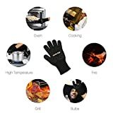HomeApp BBQ Gloves, Grilling Gloves, Heat Resistant 500 ° C, Long Knitting and Silicone Oven Gloves for Barbecue, Cooking, Baking and Soldering, 1 Black Pair (With Drop Stop)