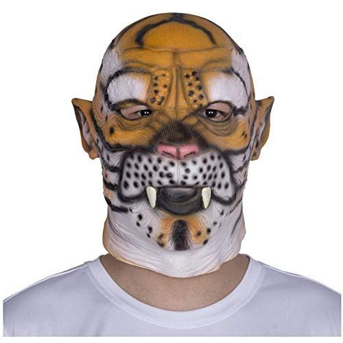 QWER Halloween Tierkopfbedeckung Latex Maske Leopard Tiger Party Abschlussball Festival Gesang Performance Requisiten