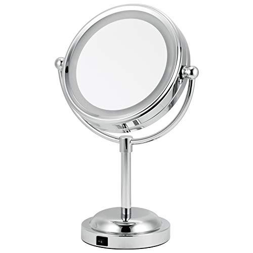 LanNiao Espejo de Bolsillo Mesa de Espejo de Maquillaje de Doble Cara con luz LED de 6...
