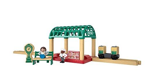 Thomas et ses amis coffret station de train en bois, wagon et une figurine, jouet pour enfant 3 ans et plus, FKF49