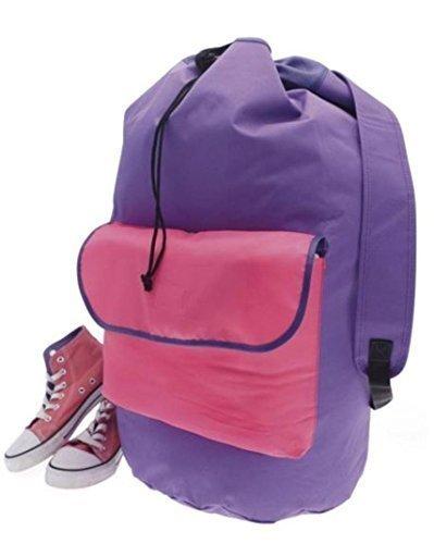 Sac à linge Motif sac de sport, le moyen facile à ranger et à transporter tout votre linge (Rose/violet)